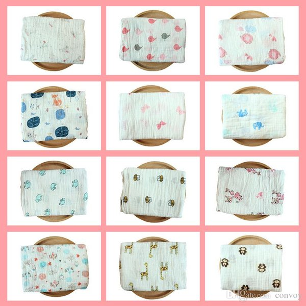 52 Styles Swaddling Cotton Blanket Newborn Infant Conditioner Blanket Baby Swaddles Bath Towel Printed Newborns Muslin Blankets BHB22
