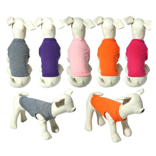 Cotton Pet T-shirts Summer Solid Color Fashion Top Shirts Vest Puppy Small Dog Clothes Pet Apparel W8258