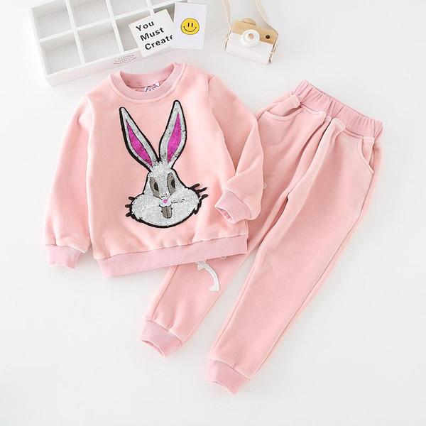 Kids Boys Girls Clothing Sets Infant Girl Boy Sequin Cartoon Sweatshirt + Pants 2pcs Sport Suit 2018 Autumn Winter Children Tracksuit S92