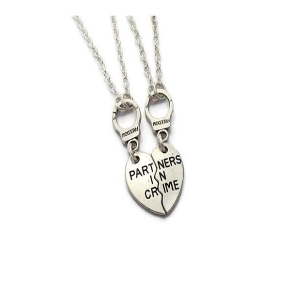 Partners in Crime Police Handcuffs Necklaces Pendant Friendship Statement Choker Couple Necklace For Women Girl Mom Gift Jewelry Fashion NEW