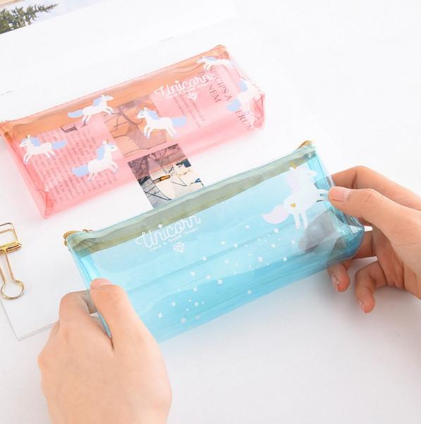 4colors Unicorn cartoon Pen Bag transparent Pencil Holder Storage bag kids gift unicorn travel Cosmetic Makeup pouch 200pcs