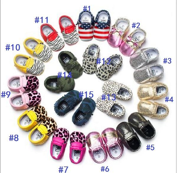 DHL free shipping 15 styles Baby moccasins good leather first walker shoes leopard print newborn stripe shoes Tassels maccasions shoes