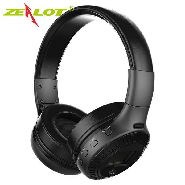 ZEALOT B19 Kopfhörer LCD Display HiFi Bass Stereo Kopfhörer Bluetooth Wireless Headset mit Mikrofon FM Radio Tf-Kartensteckplatz Kopfhörer 1pcs / lot