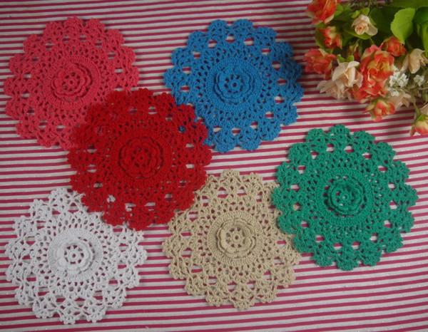 15pieces-Per design 5 PCS 3 size Handmade Crocheted Doilies Vintage Placemats, 10cm 15cm 20cm cup mat mug pad, Color Custom