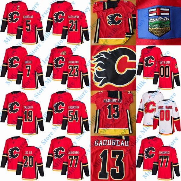 outlet store ee743 e1966 2019 Calgary Flames Jersey Garnet Hathaway Mark Jankowski Curtis Lazar Sean  Monahan Matthew Tkachuk Rasmus Andersson TJ Brodie Mark Giordano From ...