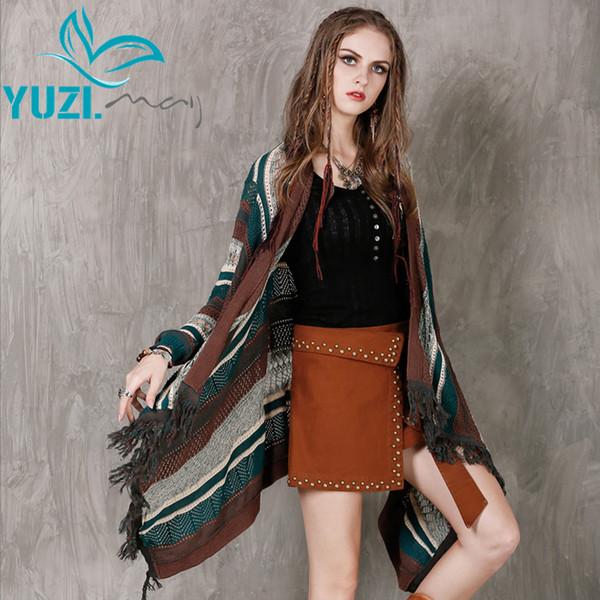 Autumn Sweater 2017 Yuzi.may Boho New Yarn Women Cardigans Long Sleeve Hollow Out Asymmetrical Shawl B9125 Cardigan Feminino