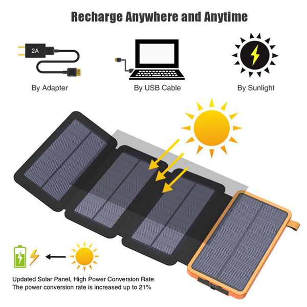 20000mAh Solar Power Bank High Capacity Real Solar Charging Power Bank Outdoors Use for iPhone iPad Samsung LG HTC Sony ZTE