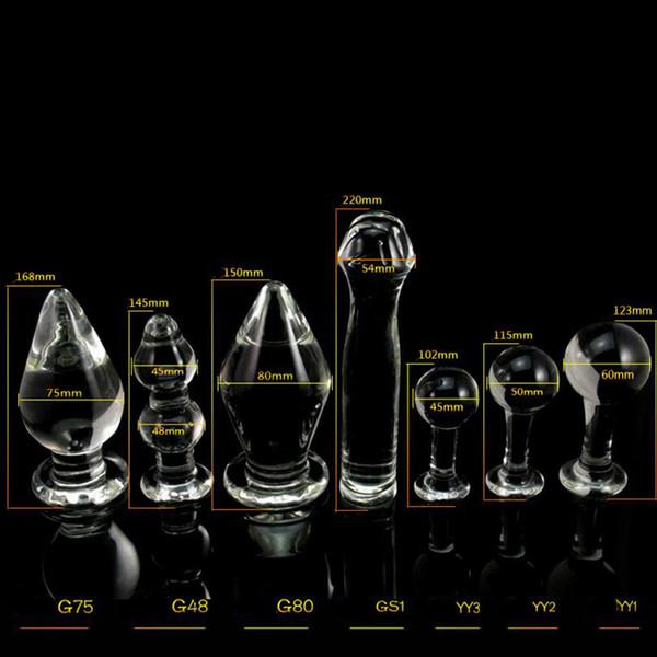 1PCS Big Crystal Dildo Large Glass Anal Plug Pyrex Glass Dong Female Sex Toys for Women Men Vaginal Anal Masturbation Fake Penis Y18102305