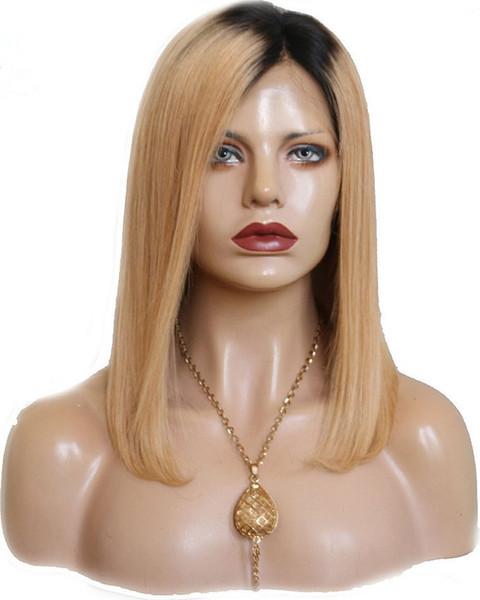 Parrucca corta Bob Omber Bionda # 27 Parrucche piene in pizzo Parrucca per capelli vergini vergini europei Remy Parrucca lunga frontale per donna