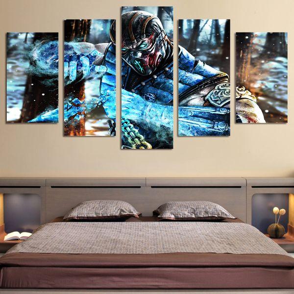 5 Panels,sub zero mortal kombat,Large Modern Canvas Oil Painting Print Wall Art Decor for Living Room Home Decoration Framed/Unframe