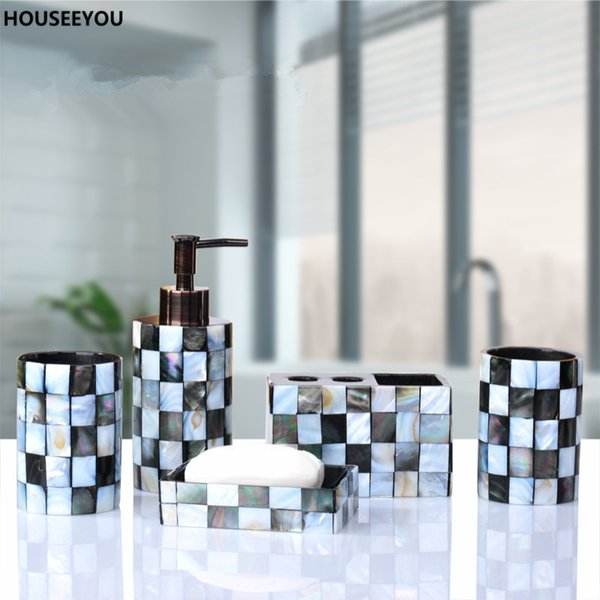 Resin Bathroom Accessories Set Black Butterfly Shells Soap Dispenser Toothbrush Holder Tumbler Soap Dish Home Garden 5pcs /Set