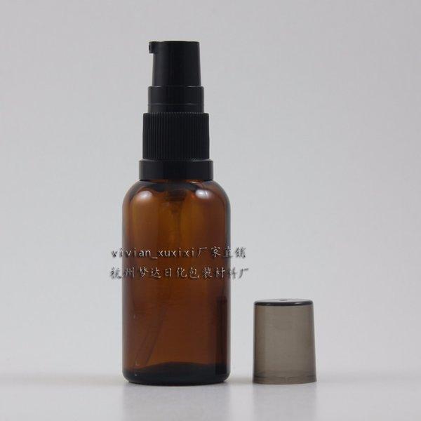 50pcs venden al por mayor 30 ml de empaquetado redondo de la loción de cristal ambarino con la bomba plástica negra, botella de crema cosmética de la loción de cristal del epty 30ml
