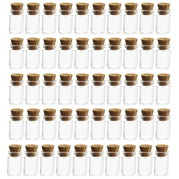 HIPSTEEN 50Pcs 11*22MM 1ML Mini Glass Bottles Empty Sample Jars with Cork Stoppers for DIY Craft Decoration