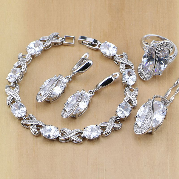 whole saleTrendy 925 Sterling Silver Jewelry White CZ Jewelry Sets For Women Wedding Earrings Pendant Necklace Rings Bracelet