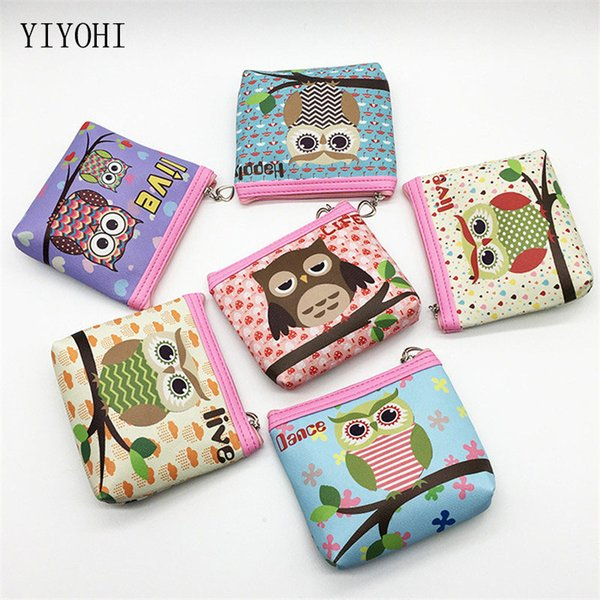 Mini Cartoon Coin Purse Animal Owl Pattern For Children Girls Cute Cheap Coin Pocket Small Card Holder Case Money Bag Wallets