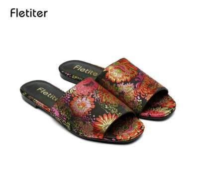 Fletiter 2018 Summer Genuine Leather Women Slippers Handmade Flower Vintage Style Women Sandals Flip Flops Female Flat Shoes