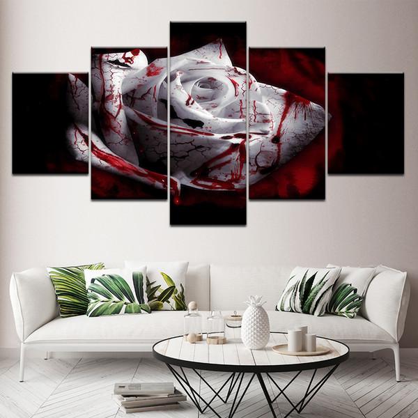 Acheter Illustration Photos Affiche Modulaire Hd Prints 5 Pièces Sang Foncé Blanc Rose Fleur Peinture Décor Salon Salon Toile Cadre Mur Art De 36 18