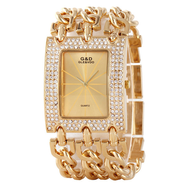2017 Mulheres Tempo De Luxo De Ouro Pulseira Relógio Strass Big Women Relógios Senhoras Pulseiras De Aço De Ouro Relógio Feminino Top Marca