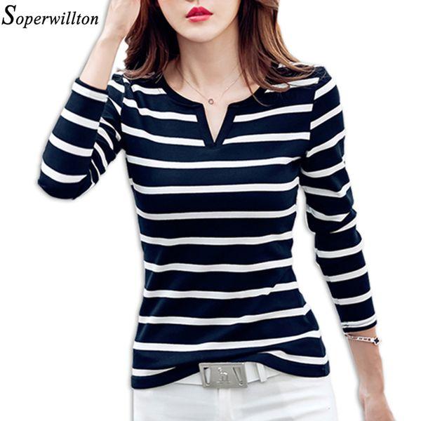 Camiseta de mujer Camiseta femenina de rayas Camiseta de manga larga Casual Lady Tops Negro Blanco 2018 Primavera Otoño Otoño Con cuello en v delgado C2 S18100901