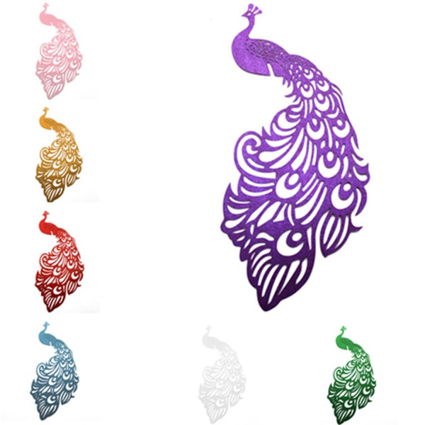 Peacock Card Party Supplies Wine Glass Cards Wedding Decoration Laser Cut Escort Cup Tricks Craft Table Decor Baby Shower