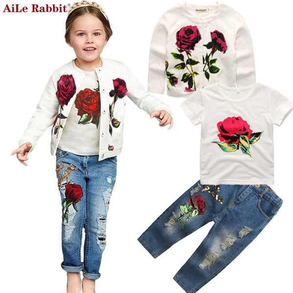 AiLe Rabbit Autumn Newest Girls Clothes Suit Jacket T shirt Jeans 3 Pcs Set Fashion Rose Cardigan Tops Sequin Kids Coat k1