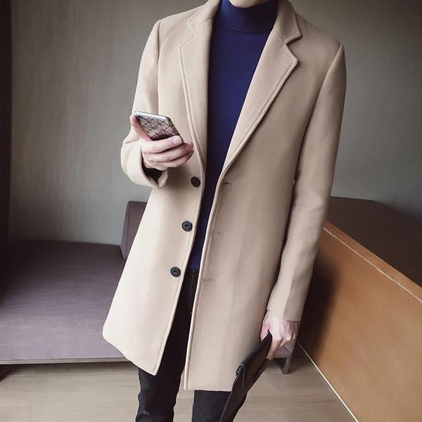 2018 New Youth Men Long Sleeve Knit Trench Coats Black Khaki Navy Blue Slim Elegant Mens Autumn Fashion Plaid Jackets