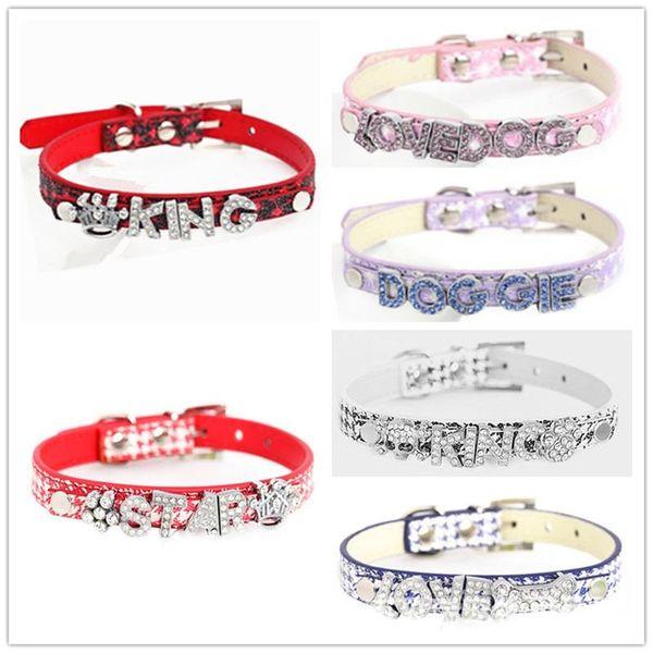 Neue Kreative DIY Brief Name Tragen Ornamente Hundehalsband Pu Hunde Kette Welpen Kleidung Heimtierbedarf Multi Farbe Hohe Qualität 4 5bl4 aa