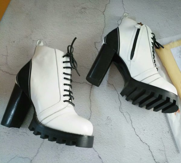 White Platform Boots with box Cowhide Lace Short Military Booties Autumn Winter Ladies Boot