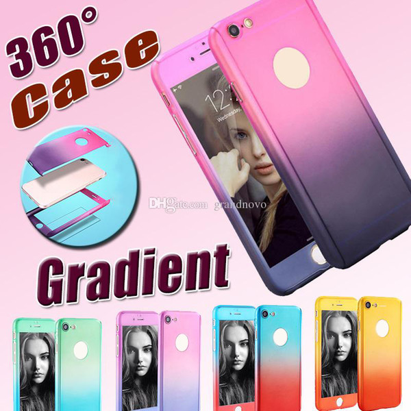 360 Degree Case Full Body Coverage Gradient Protection Hard Tempered Glass Screen Protector Cover For iPhone XS Max XR X 8 7 6 6S Plus 5 5S