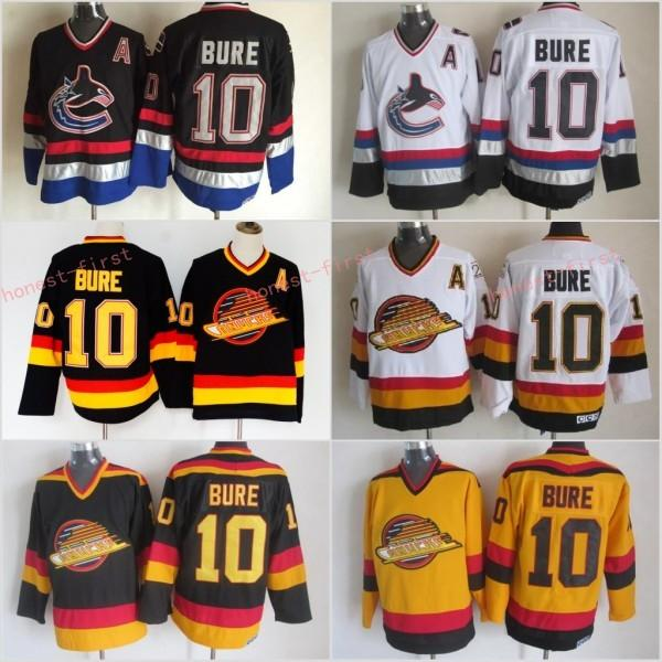 Loghi economici per Ice Hockey 10 Pavel Bure Vancouver Canucks Road Alternate Black White Men Fashion Embroider Logos