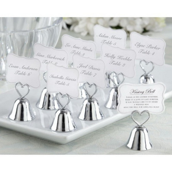 """Beautiful Gold and Silver Kissing Bell"""" Bell Place Card Holder Photo Holder Wedding Table Decoration Favors"""