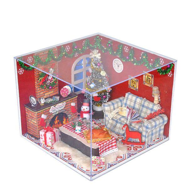 Acheter Diy Kits Maison De Noel Decoration Miniature Bois Poupee Maison Meubles Modele De Maison De Poupee Assembler Des Jouets Pour Enfants De Noel