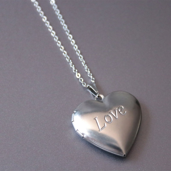 Everfast New Stainless Steel Necklace Engraved Love Heart Locket Pendants Photo Frame Necklaces Memorial Jewelry Gift For Women Kids SN123