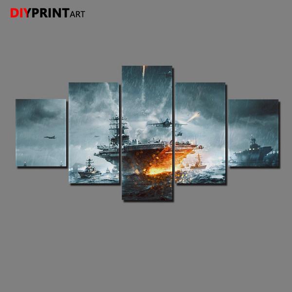 Battlefields 4 Naval Strike DIC 5 Paneles Pintura de la Lona Decoración Del Hogar Imágenes para la Sala A1106