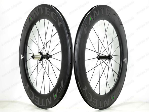 Freeshippin 700C 88mm depth road bike carbon wheels 25mm width Clincher road bicycle carbon wheelset with Straight pull hub