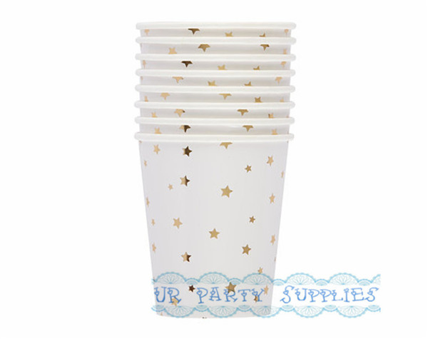Hot Sale!! 160pcs Foil Gold Star Paper Cups 9OZ Ice Cream/Snack/Cupcake/Fruit/Candy Cups for Birthday Baby Shower Wedding Party