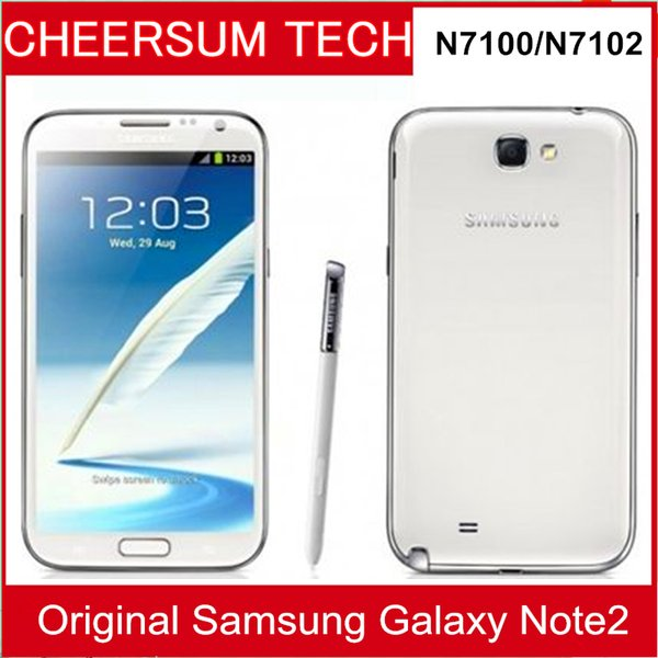Original Samsung Galaxy Note2 N7100 Quad Core 2 GB RAM 16 GB ROM Note 2 II Android 4.1 8MP Camera 3G refurbished unlocked Phone