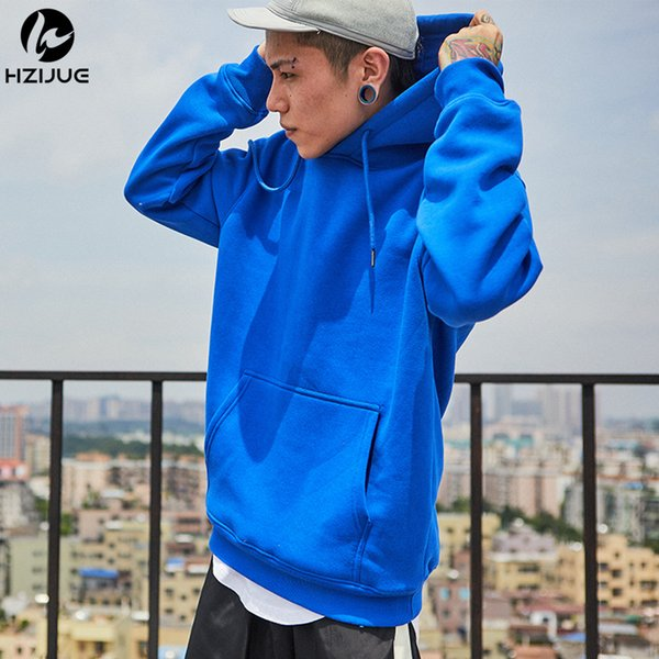 HZIJUE brand Long Sleeve Sweatshirt Men Hooded Blue casual USA SIZE Sweatshirt Men Hoodies Solid Pullover Clothing Hip Hop
