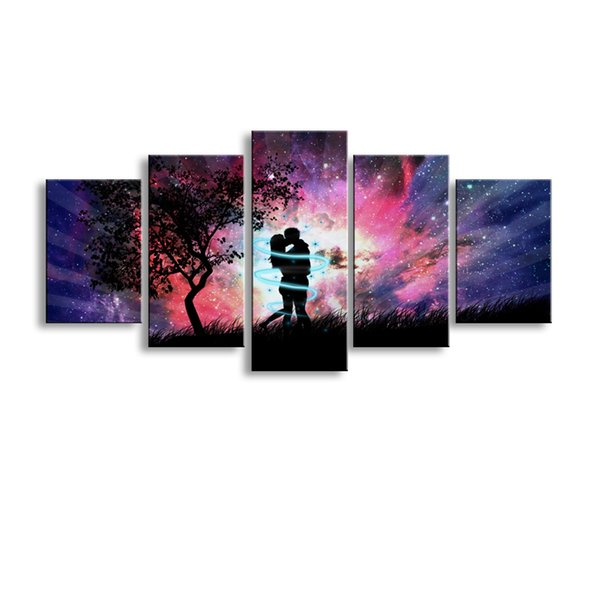 5 pieces high-definition print Art Love Couple Aurora Shining canvas oil painting poster and wall art living room picture RW-076