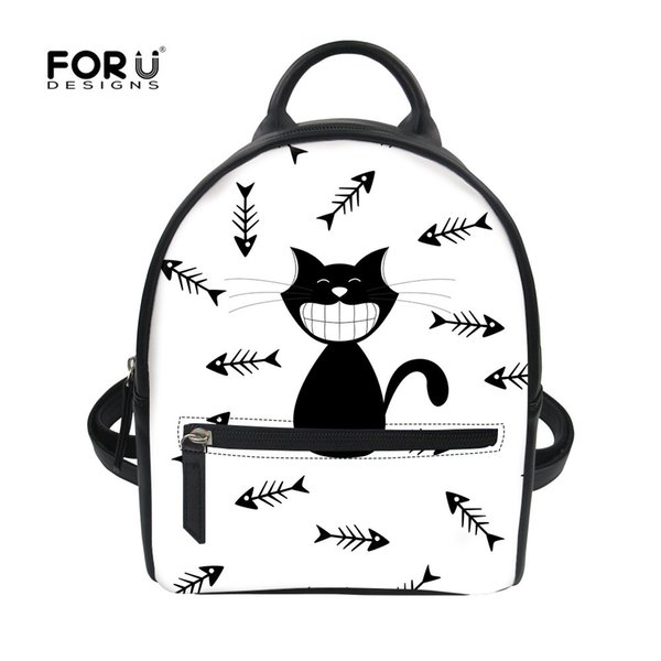 FORUDESIGNS Cute Cat Backpack For Teenager Girls Fashion Women Pu Small Summer Rucksack Casual Animals Printing Korean Style Bag
