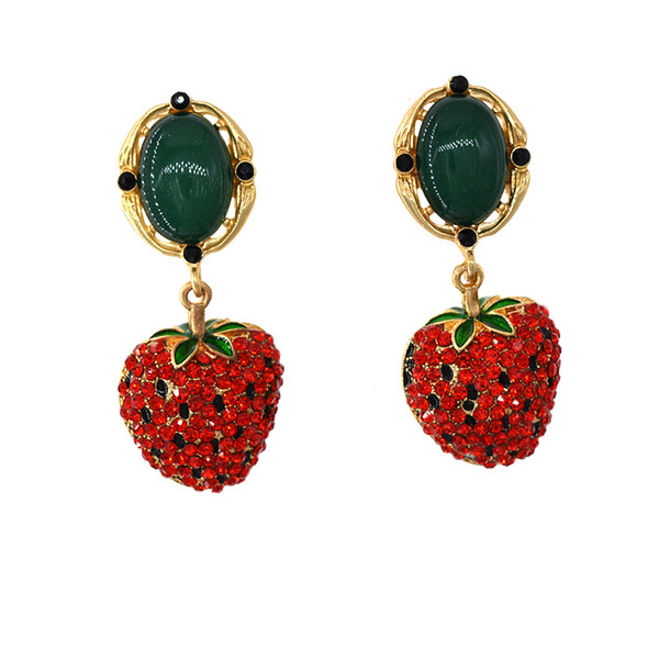 new fashion design Baroque vintage earrings red rose flowers green crystal earrings for women luxury temperament retro big earrings