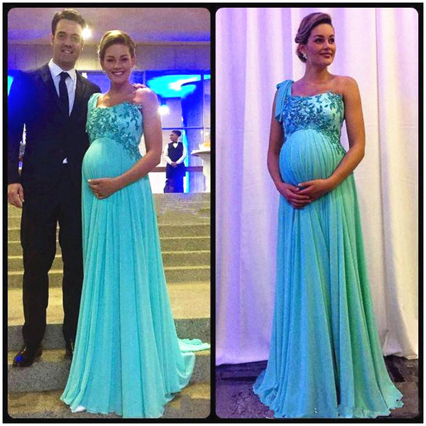 Compre Luz Azul Maternidad Embarazada Vestido De Noche Un Hombro Apliques Brillantes Gasa Elegante Fiesta Vestidos Tamaño Personalizado A 8945 Del