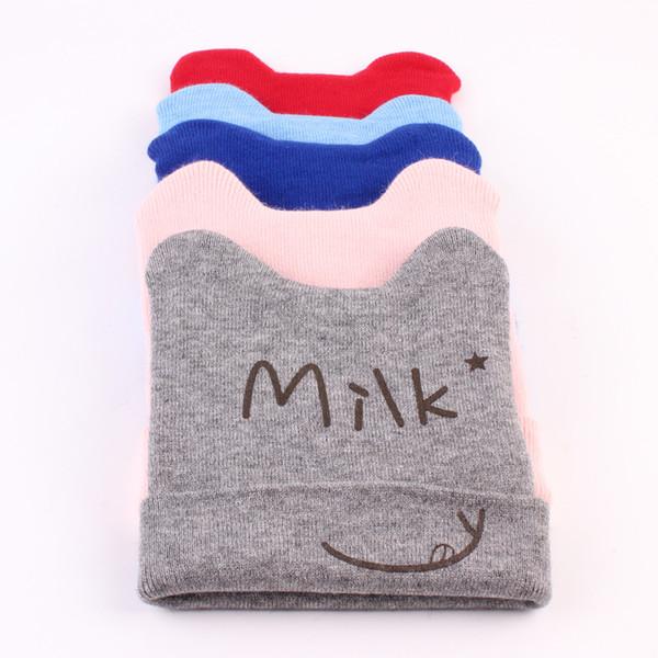 4pcs 6-36 month Autumn-Winter Baby Knitted Hat Letters Milk Printed Kids Soft Hat Bear Ears Infant Elastic Cap Beanie Bonnet MZ18