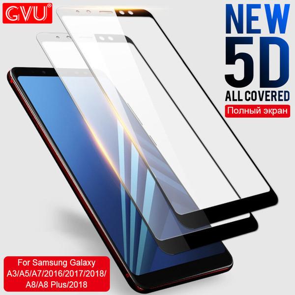 Vidrio protector de pantalla completo GVU 5D para Galaxy A3 A5 A7 2016 2017 película de vidrio templado para A5 A8 Plus 2018