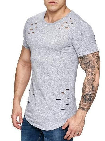 Summer Casual Short Sleeve Ripped Holes T-shirts Men Brand Clothing Men's Loose Slim Fit Muscle Tee Male Basic Tops T-shirts