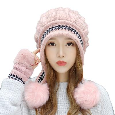 New Autumn And Winter Korean Version Of The Warm Women Hat Gloves Set Knitted Hair Ball Two Sets Of Ladies Thickening HC37