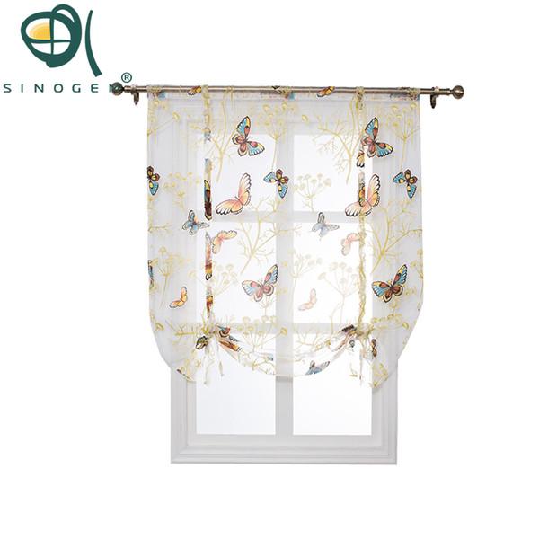 Sinogem Tulle Fabrics Short Curtain Short Kitchen Curtains Roman Blinds Butterfly Design Window Treatments Sheer Curtain Modern