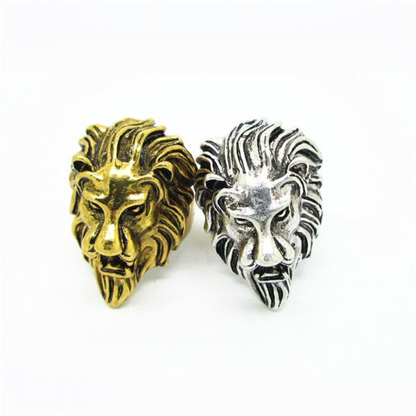 Punk 316L Edelstahl vergoldet König Löwenkopf Ring für Tier Löwen Ringe Schmuck