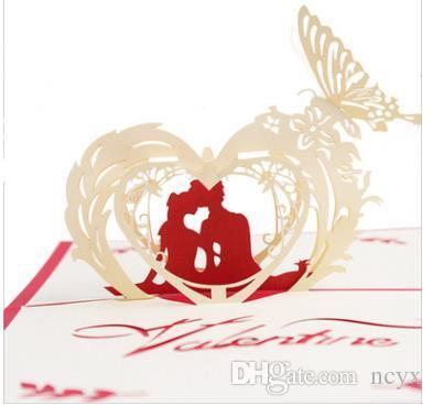 Handmade Hollowed Out Paper Engraved 3D Greeting Card Happy Lovers A General Valentines Day Teachers
