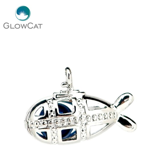 5PCS Silver Copper Cute Submarine Beads Cage Locket Pendant K1149